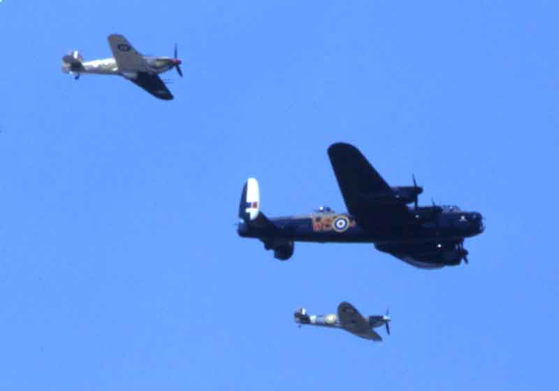 The Battle of Britain Memorial Flight - Hurricane Lancaster and Spitfire.