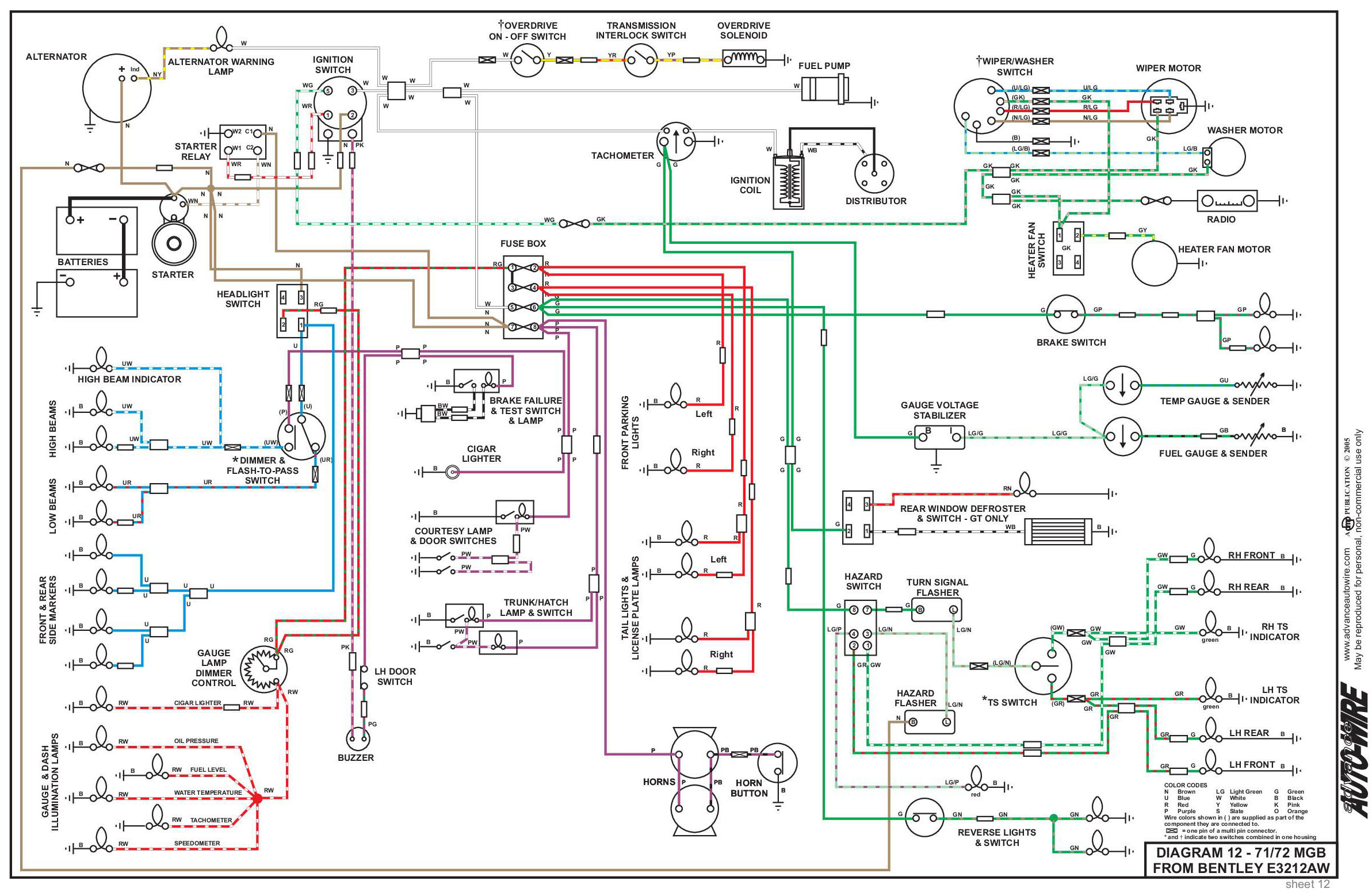 Electrical System Single Headlight Schematic Click Image For Larger View 71 72 Mgb