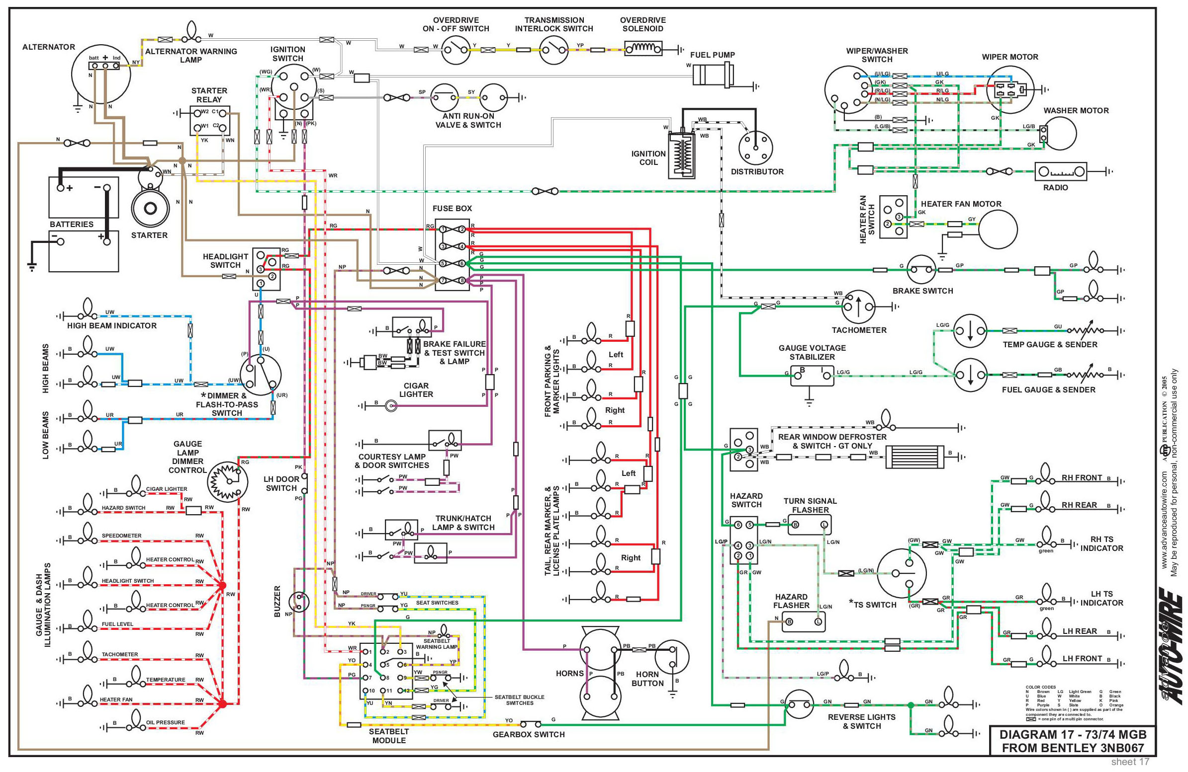 Electrical System Single Headlight Schematic Click Image For Larger View 73 74